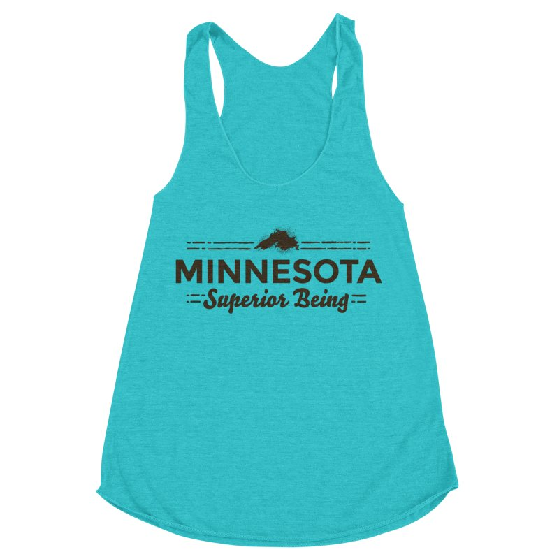MN Superior Being (dark) Women's Racerback Triblend Tank by Logo Mo Doodles, Drawings, and Designs