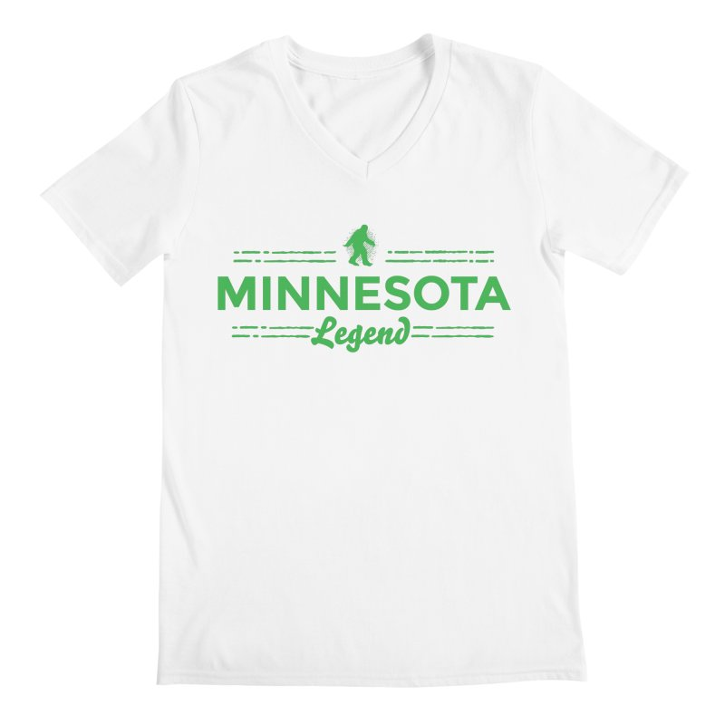 MN Lengend Sasquatch (green) Men's V-Neck by Logo Mo Doodles, Drawings, and Designs