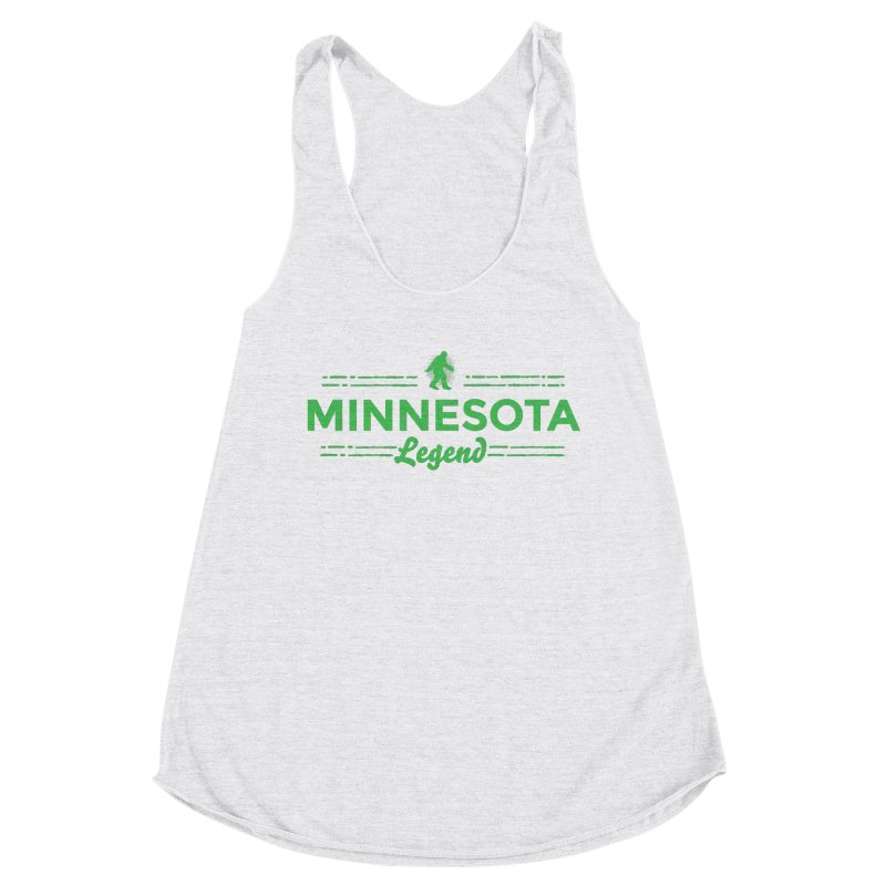 MN Lengend Sasquatch (green) Women's Racerback Triblend Tank by Logo Mo Doodles, Drawings, and Designs
