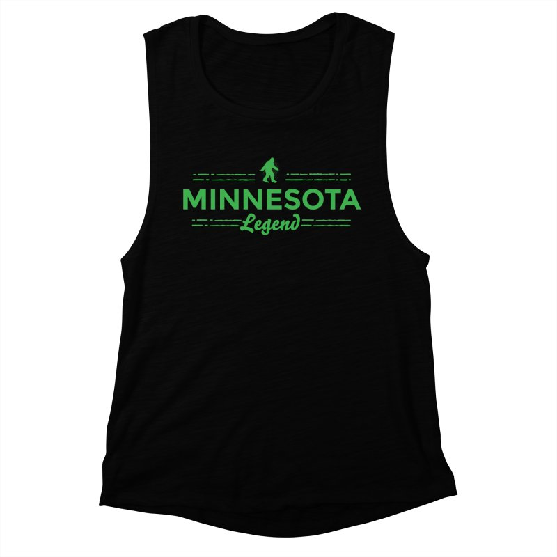 MN Lengend Sasquatch (green) Women's Muscle Tank by Logo Mo Doodles, Drawings, and Designs