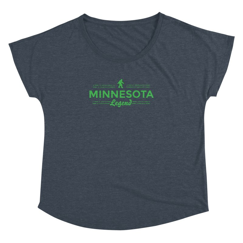 MN Lengend Sasquatch (green) Women's Dolman Scoop Neck by Logo Mo Doodles, Drawings, and Designs