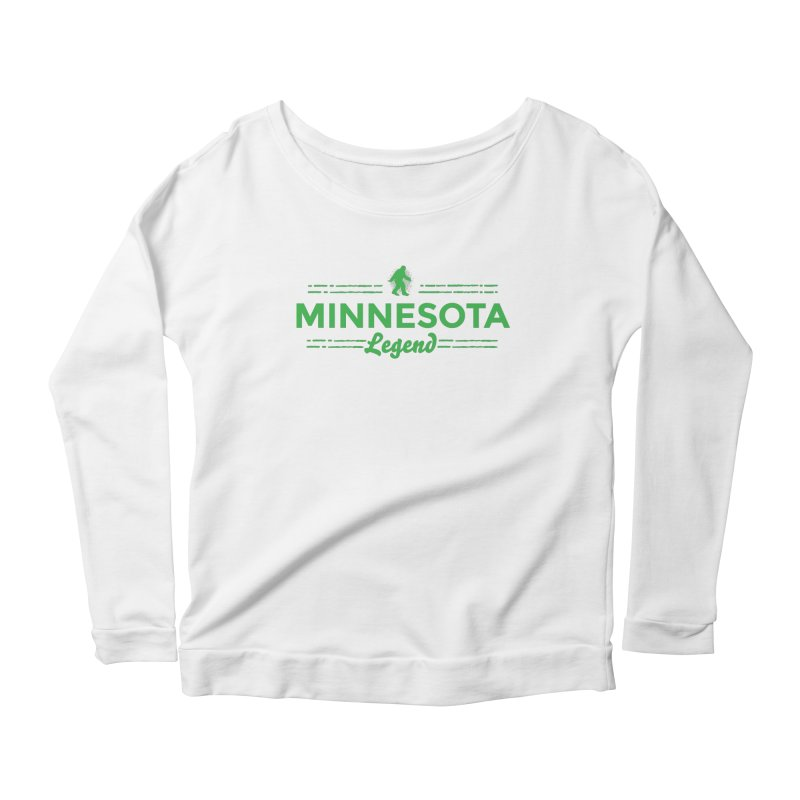 MN Lengend Sasquatch (green) Women's Scoop Neck Longsleeve T-Shirt by Logo Mo Doodles, Drawings, and Designs