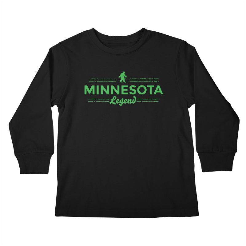 MN Lengend Sasquatch (green) Kids Longsleeve T-Shirt by Logo Mo Doodles, Drawings, and Designs