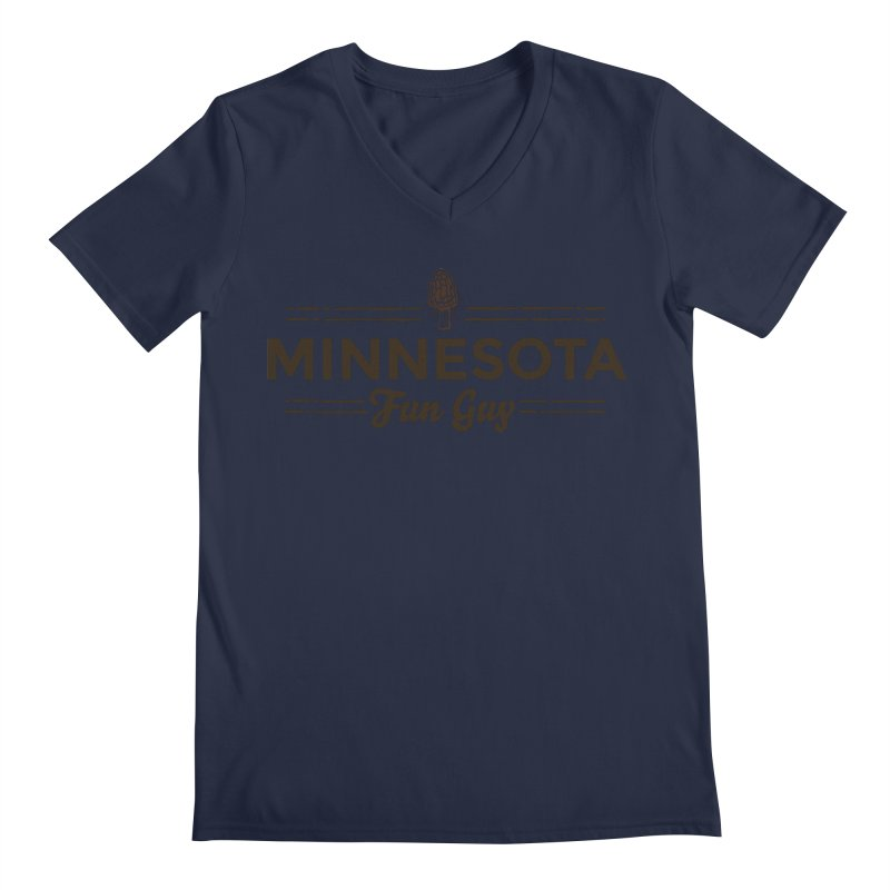 "MN Fun Guy ""Fungi"" (dark brown) Men's Regular V-Neck by Logo Mo Doodles, Drawings, and Designs"
