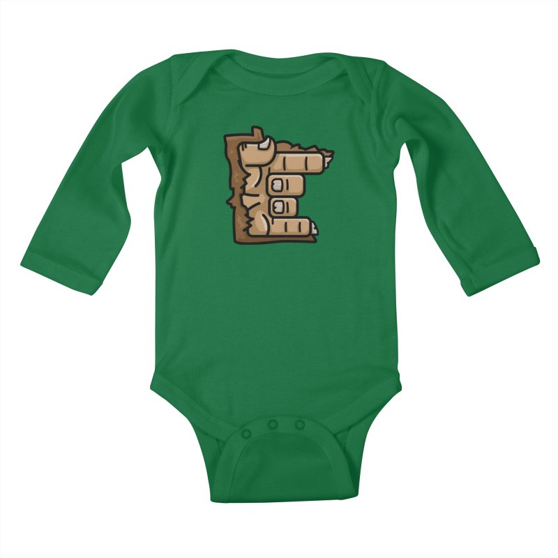 MN Rock On Sasquatch Hand Kids Baby Longsleeve Bodysuit by Logo Mo Doodles, Drawings, and Designs