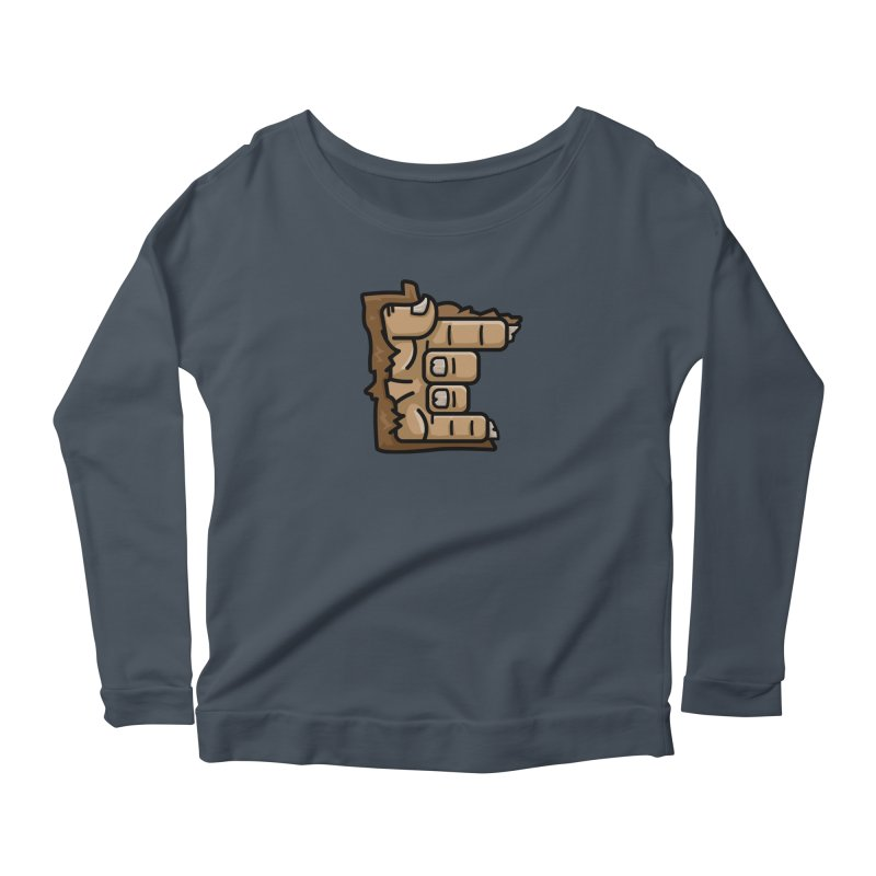 MN Rock On Sasquatch Hand Women's Scoop Neck Longsleeve T-Shirt by Logo Mo Doodles, Drawings, and Designs