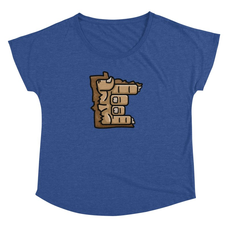 MN Rock On Sasquatch Hand Women's Dolman Scoop Neck by Logo Mo Doodles, Drawings, and Designs