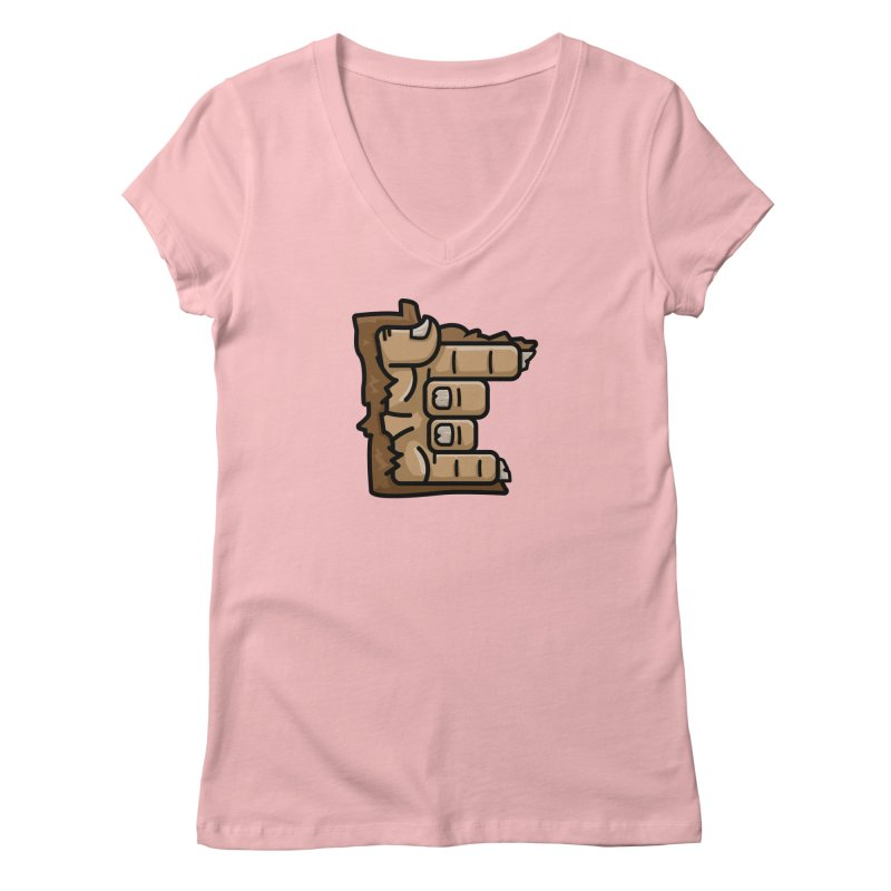 MN Rock On Sasquatch Hand Women's Regular V-Neck by Logo Mo Doodles, Drawings, and Designs