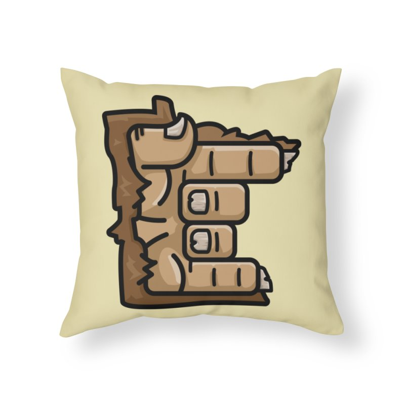 MN Rock On Sasquatch Hand Home Throw Pillow by Logo Mo Doodles, Drawings, and Designs