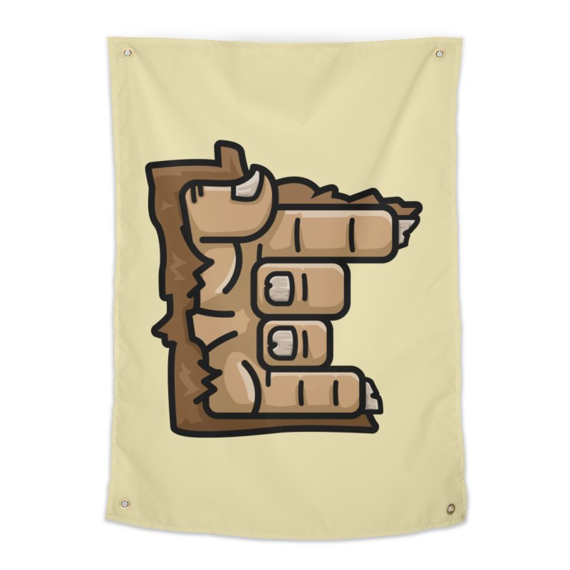 MN Rock On Sasquatch Hand Home Tapestry by Logo Mo Doodles, Drawings, and Designs