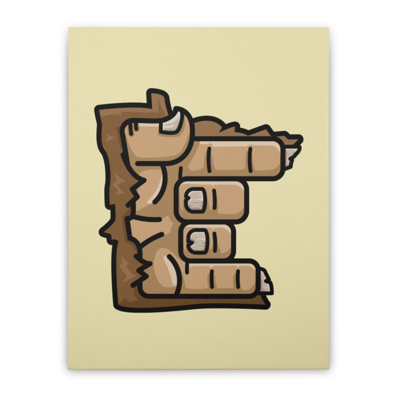 MN Rock On Sasquatch Hand Home Stretched Canvas by Logo Mo Doodles, Drawings, and Designs