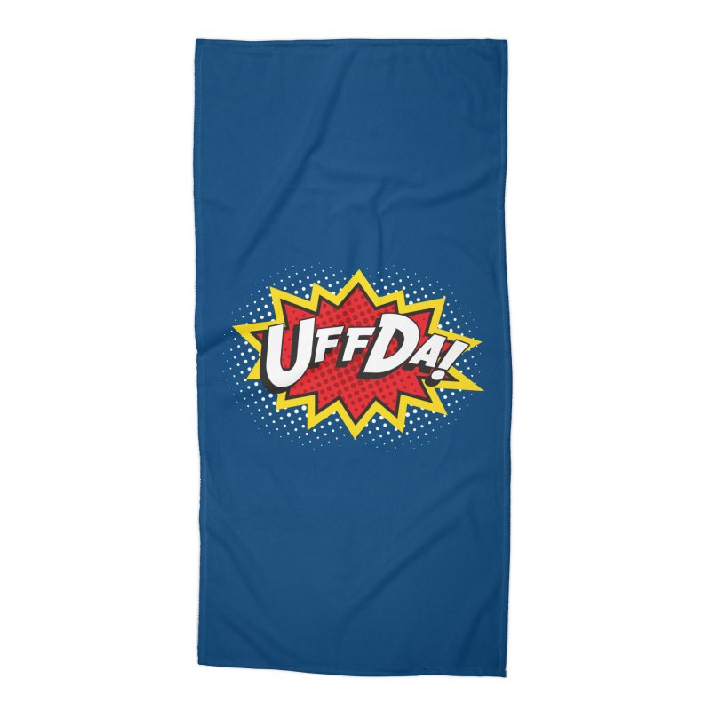 Uffda Burst Accessories Beach Towel by Logo Mo Doodles, Drawings, and Designs