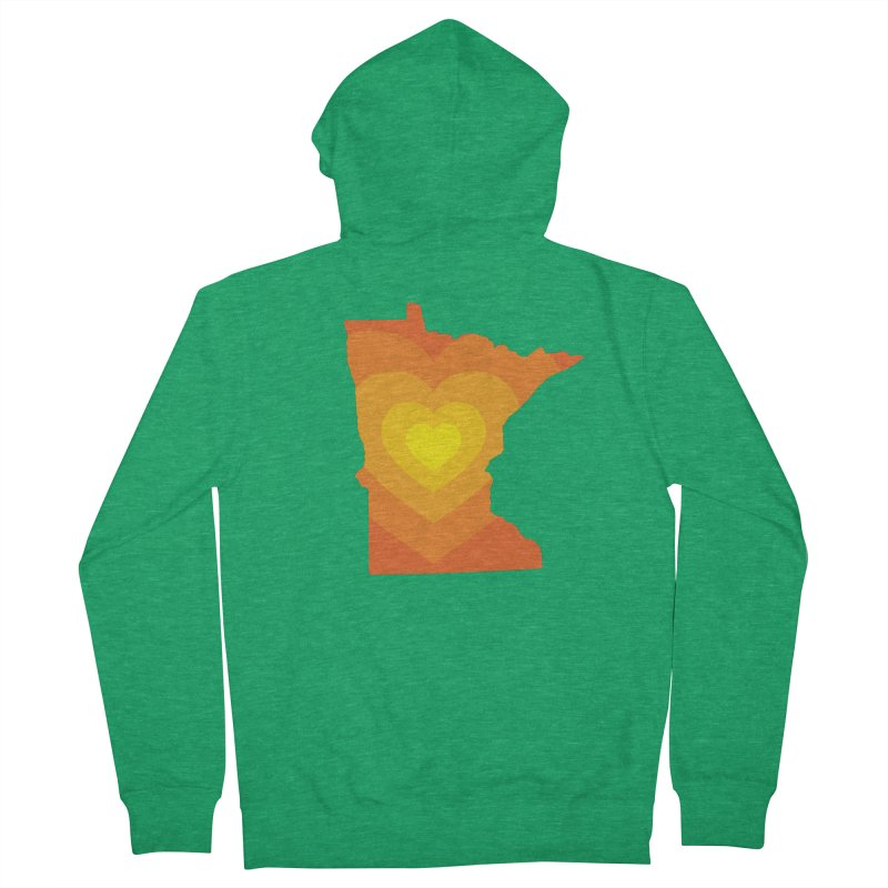 Heart of MN Men's French Terry Zip-Up Hoody by Logo Mo Doodles, Drawings, and Designs