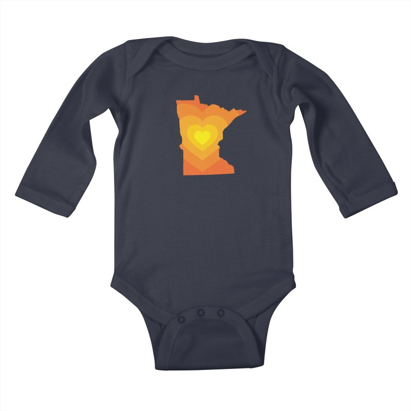 Heart of MN Kids Baby Longsleeve Bodysuit by Logo Mo Doodles, Drawings, and Designs