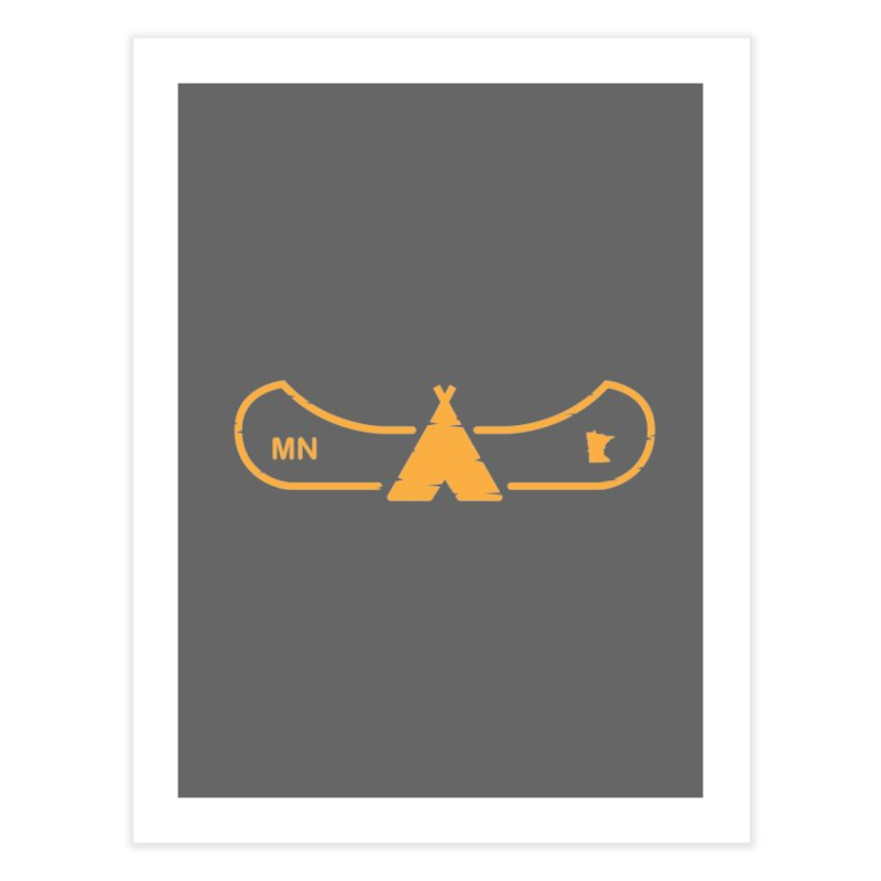 Canoe in Camping Sign (ORANGE) Home Fine Art Print by Logo Mo Doodles, Drawings, and Designs
