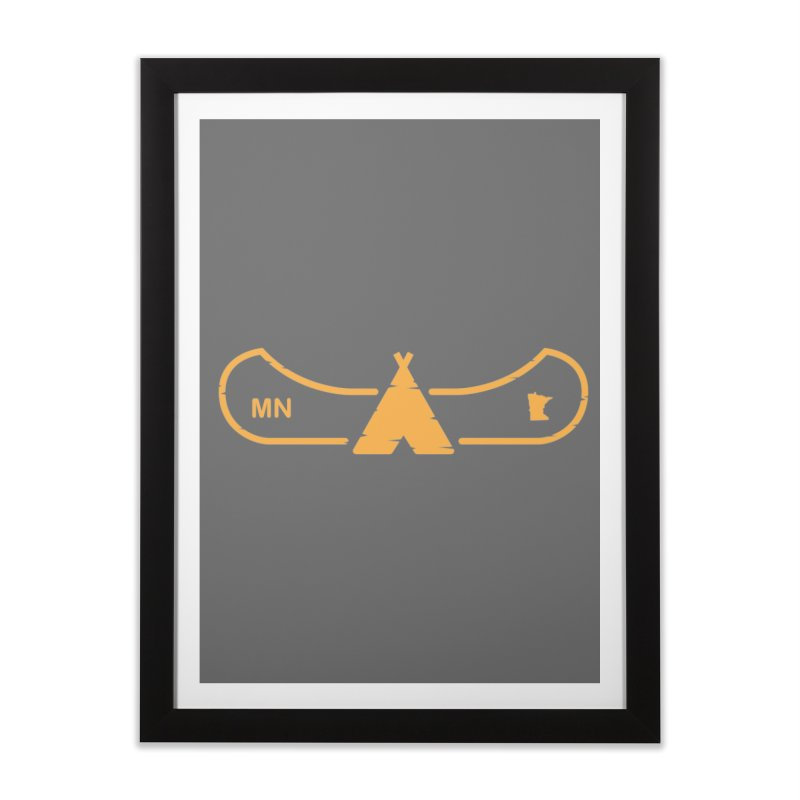 Canoe in Camping Sign (ORANGE) Home Framed Fine Art Print by Logo Mo Doodles, Drawings, and Designs