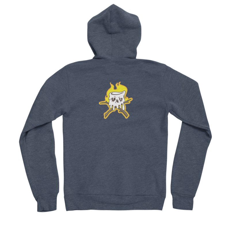 S'more Skull and Cross Sticks Small Front Women's Sponge Fleece Zip-Up Hoody by Logo Mo Doodles, Drawings, and Designs