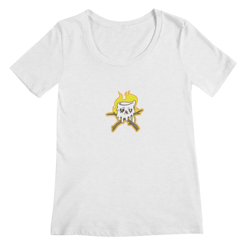 S'more Skull and Cross Sticks Small Front Women's Regular Scoop Neck by Logo Mo Doodles, Drawings, and Designs