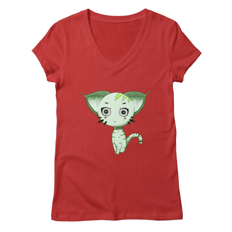 Ufo Cat by Lolita Tequila Women's Regular V-Neck by lolitatequila's Artist Shop