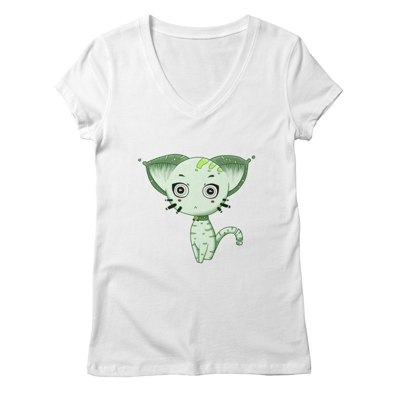 Ufo Cat by Lolita Tequila Women's V-Neck by lolitatequila's Artist Shop