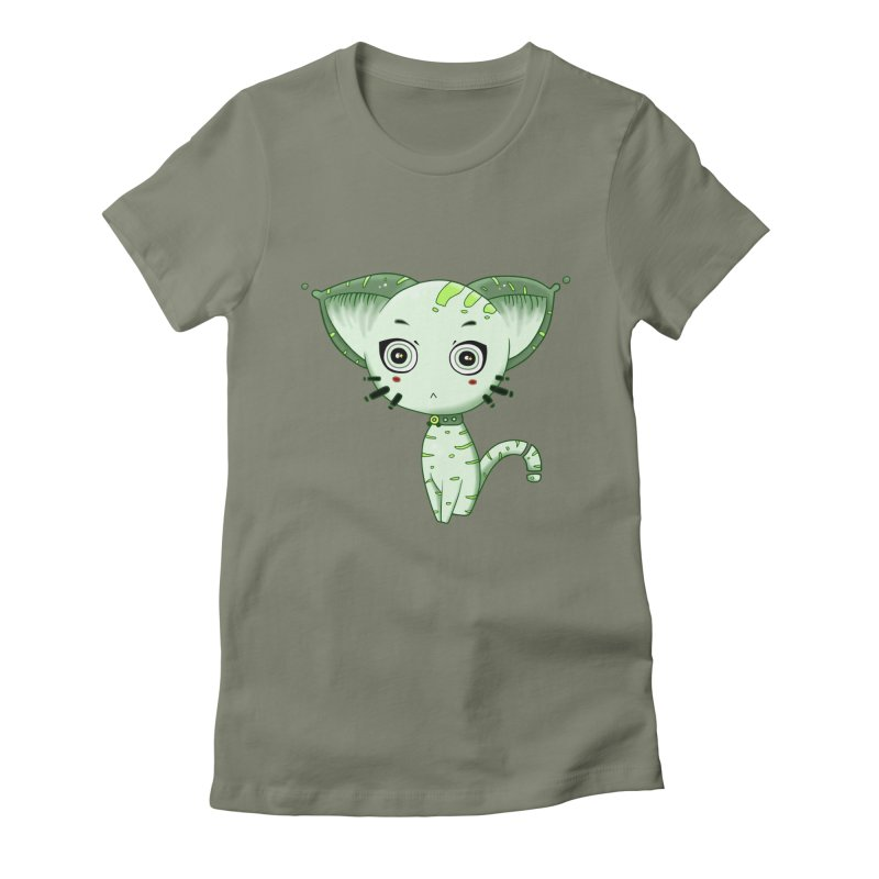 Ufo Cat by Lolita Tequila in Women's Fitted T-Shirt Light Olive by lolitatequila's Artist Shop