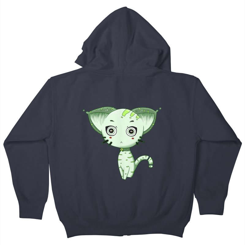 Ufo Cat by Lolita Tequila Kids Zip-Up Hoody by lolitatequila's Artist Shop