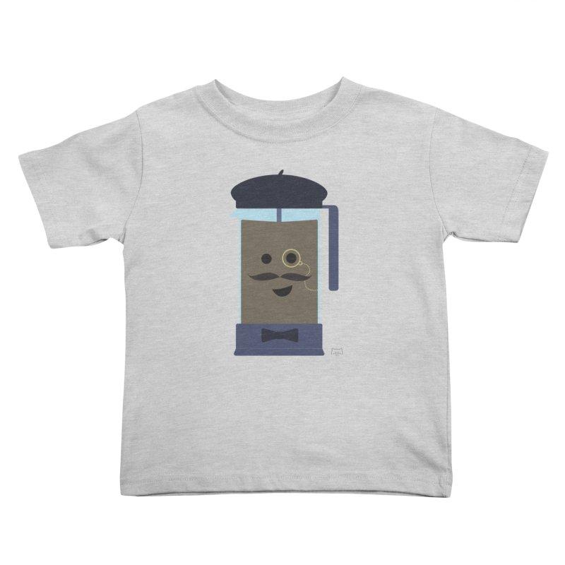 Monsieur Cafetière Kids Toddler T-Shirt by lolo designs