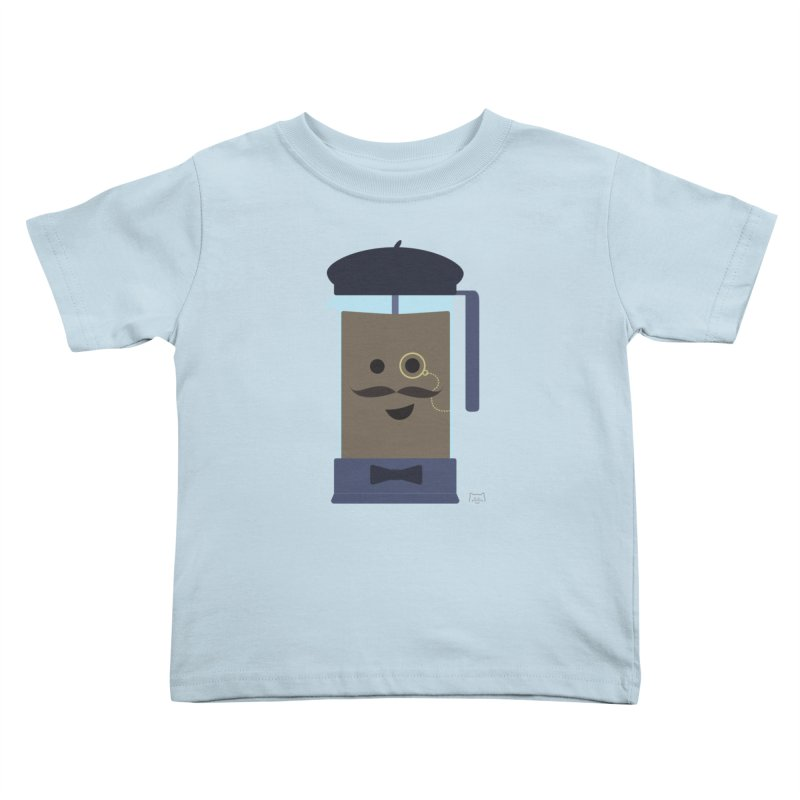 Monsieur Cafetière Kids Toddler T-Shirt by lolo designs