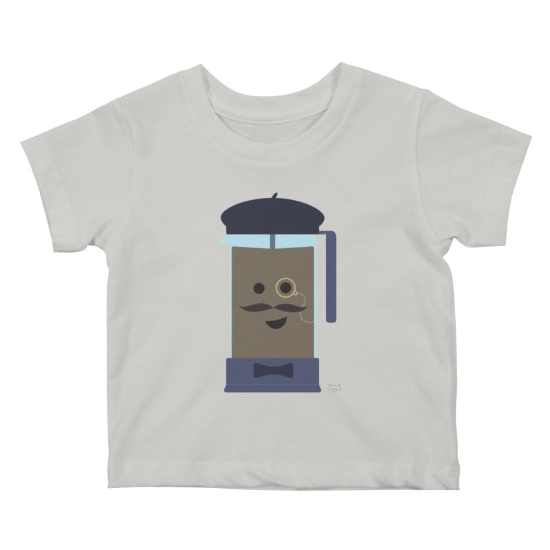Monsieur Cafetière Kids Baby T-Shirt by lolo designs