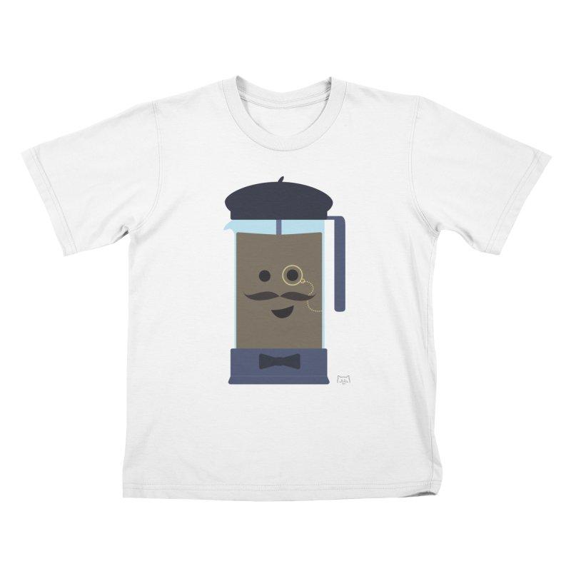 Monsieur Cafetière Kids T-Shirt by lolo designs