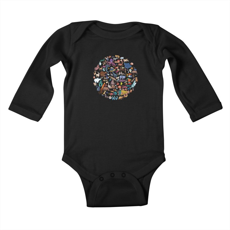 Animal Kingdom Kids Baby Longsleeve Bodysuit by lomp's Artist Shop