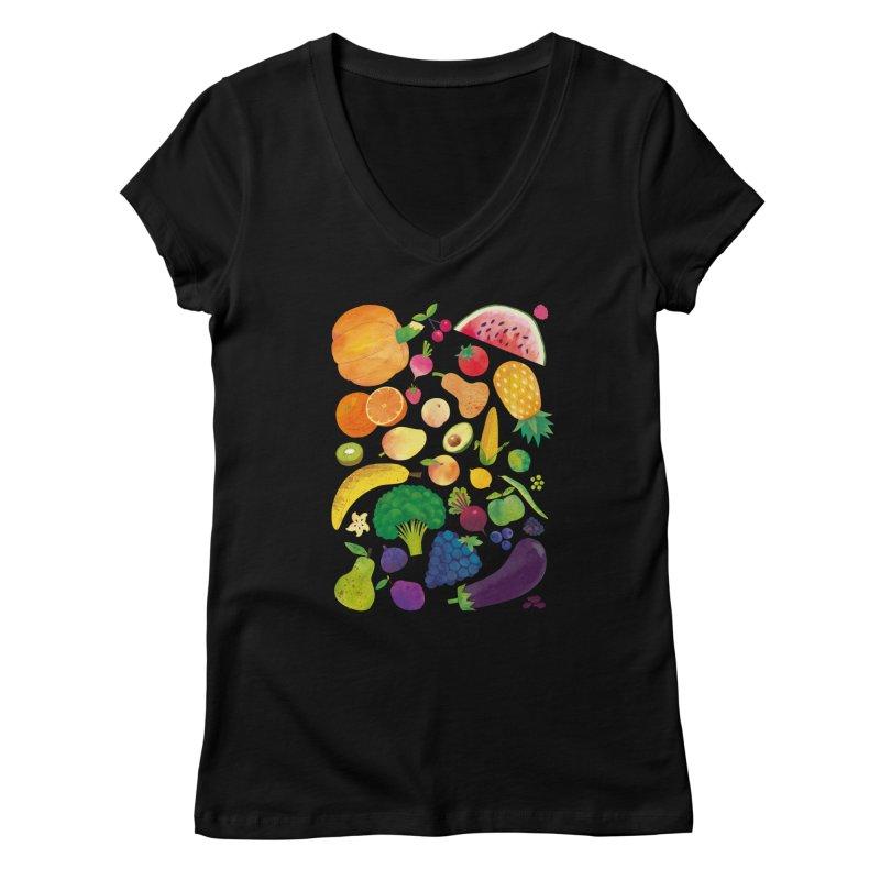 Fruits and Vegetables Women's V-Neck by lomp's Artist Shop