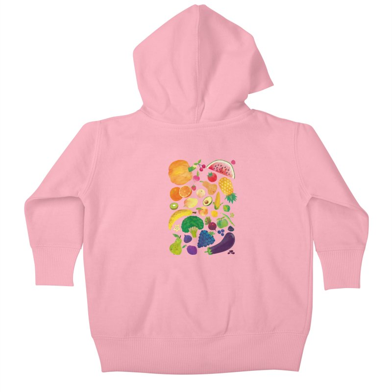 Fruits and Vegetables Kids Baby Zip-Up Hoody by lomp's Artist Shop