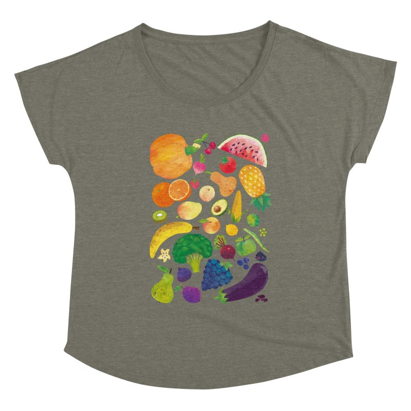 Fruits and Vegetables Women's Scoop Neck by lomp's Artist Shop