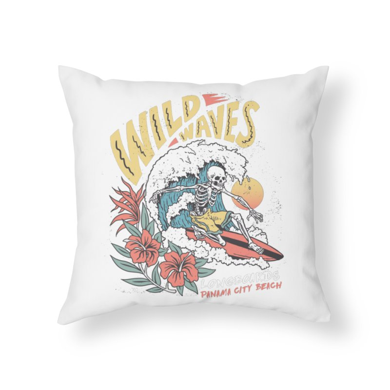 Wild Waves Home Throw Pillow by Longboard's Store