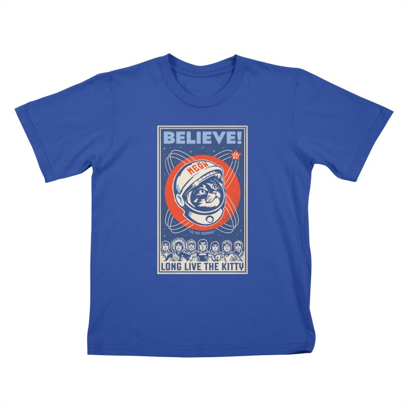 Believe: To the Cosmos! Long Live the Kitty: Space Cat, DARK Shirts Kids T-Shirt by Long Live the Kitty!