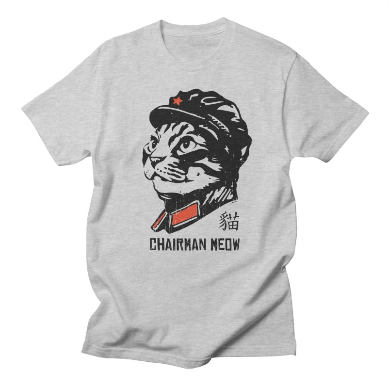 Chairman Meow: Icon of the Kitty Revolution in Men's Regular T-Shirt Heather Grey by Long Live the Kitty!
