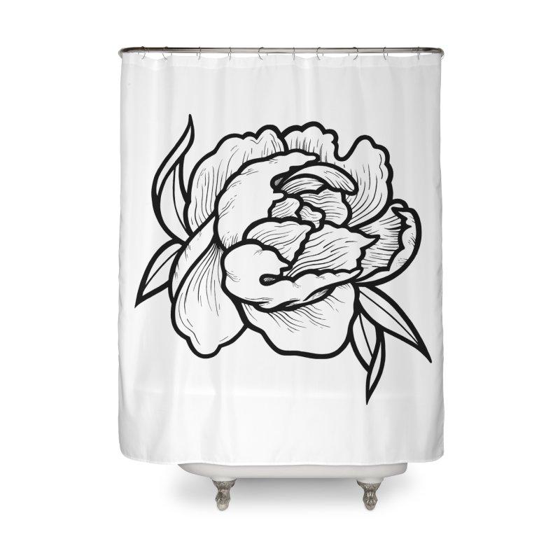 Paeon (Black) Home Shower Curtain by loohicks's Artist Shop