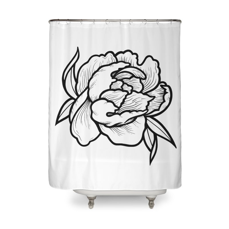 Paeon (Black) Home Shower Curtain by loohicks's Artist Shop