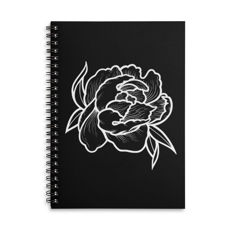 Paeon (White) Accessories Lined Spiral Notebook by loohicks's Artist Shop