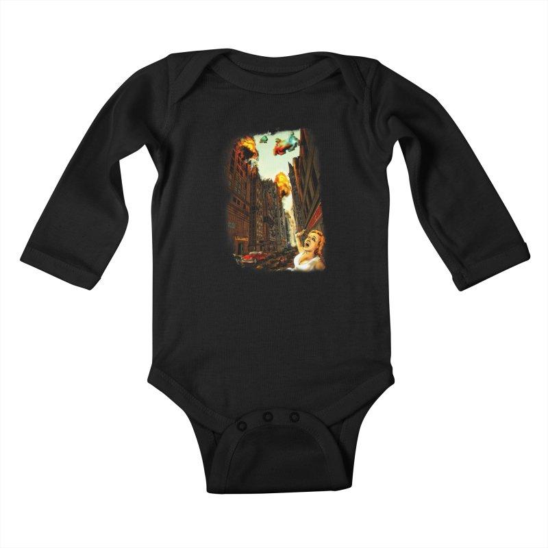 INVADERS! Kids Baby Longsleeve Bodysuit by lopesco's Artist Shop
