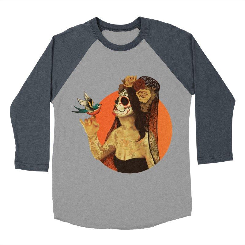 Calavera Princess Men's Baseball Triblend T-Shirt by lopesco's Artist Shop