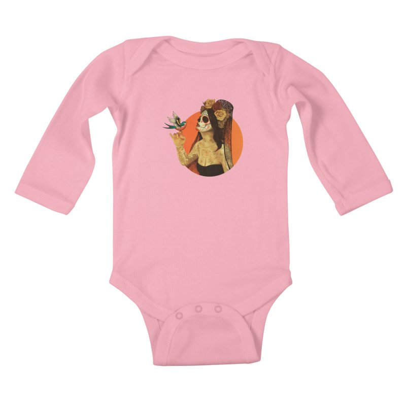 Calavera Princess Kids Baby Longsleeve Bodysuit by lopesco's Artist Shop