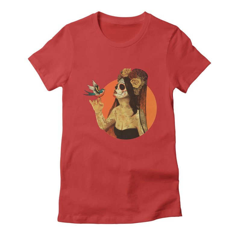 Calavera Princess Women's Fitted T-Shirt by lopesco's Artist Shop