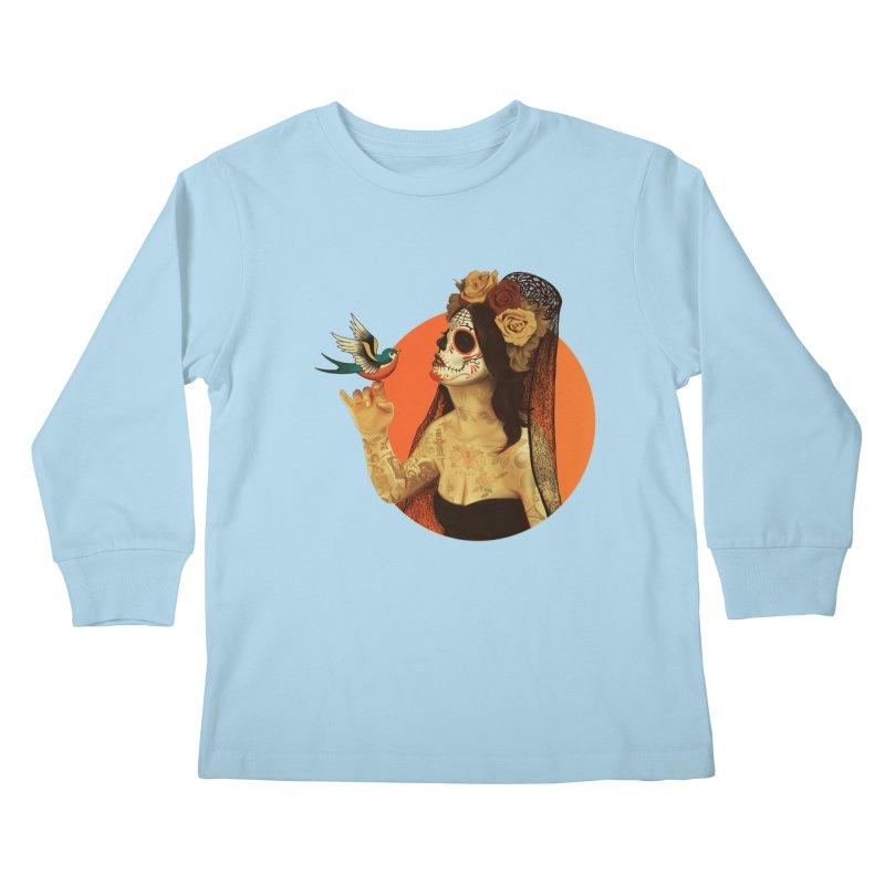 Calavera Princess Kids Longsleeve T-Shirt by lopesco's Artist Shop