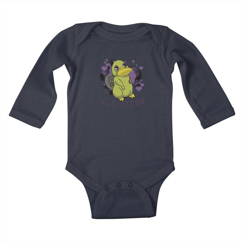 Am I Cute- Purple Eyes Platypus Kids Baby Longsleeve Bodysuit by lorenzobonilla's Artist Shop