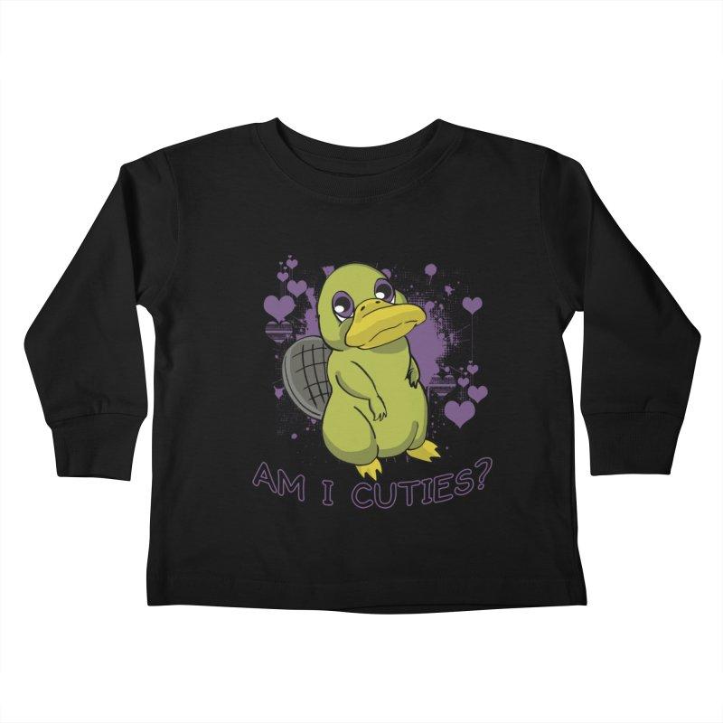 Am I Cute- Purple Eyes Platypus Kids Toddler Longsleeve T-Shirt by lorenzobonilla's Artist Shop