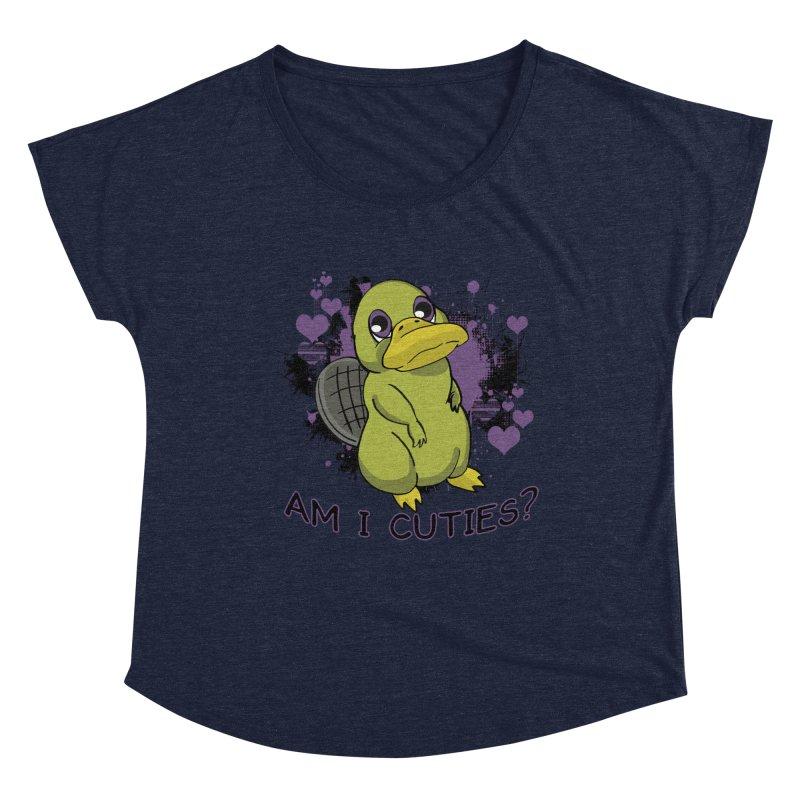 Am I Cute- Purple Eyes Platypus Women's Scoop Neck by lorenzobonilla's Artist Shop