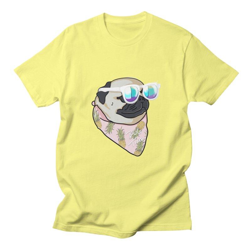 Pug Summer Time Men's T-Shirt by lostanaw's Artist Shop