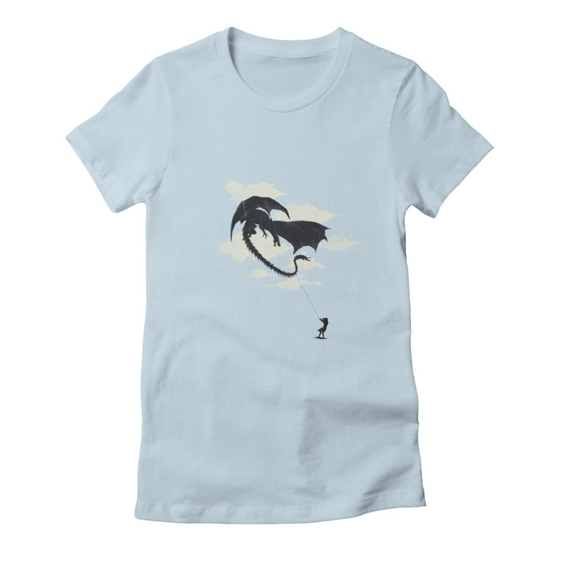 LITTLE GIRL PLAYING Women's Fitted T-Shirt by lostomatos's Artist Shop